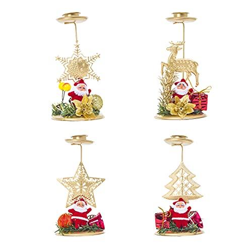 Portavelas Navidad,Qiundar 4 Pcs Portavelas Navideño de Metal Candelabro de Navidad para Decoración del Hogar de Navidad