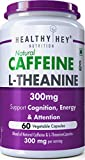 HealthyHey Nutrition Natural Caffeine 100mg Plus L-Theanine 200mg - Support Energy and Focus