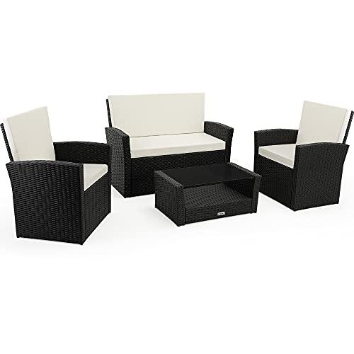 Deuba Poly Rattan Lounge Set 7cm Auflagen Kissen Wetterfest Sitzgarnitur Balkon Garten Balkonset Gartenmöbel Schwarz