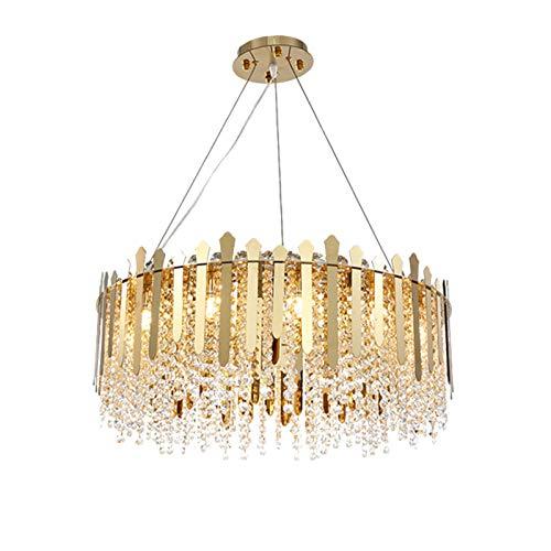 G9 Cristal Candelabro Luz Colgante Moderno Diseñador De Techo Luz Ajustable Altura Lámpara Colgante Transparente Colgante Lámpara Colgante Para Escalera,Bar,Cocina,Lámpara De Comed-Oro Y Cristal 80*25