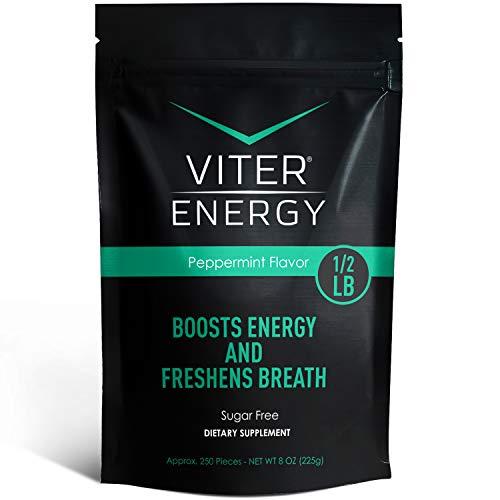 Viter Energy Caffeinated Mints - 40mg Caffeine, B Vitamins, Sugar Free Vegan Breath Mint. Powerful Energizing Boost. 2 Energy Mints Replace 1 Coffee, Gum, Chews, Gummies, Candy (Peppermint Bulk Bag)