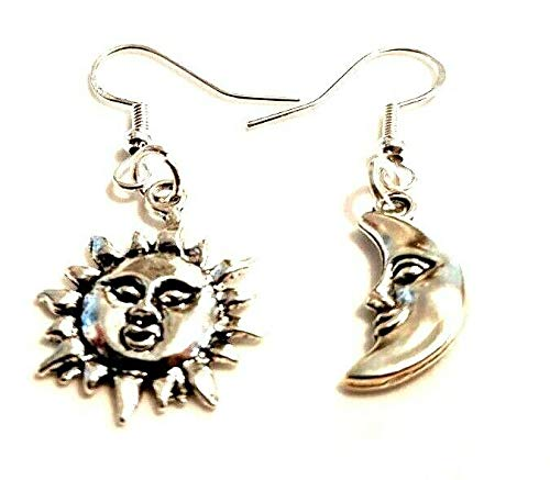 Mismatched Sun & Moon Earrings on Sterling Silver Hooks Wiccan Gift Wicca Planets Jewelry