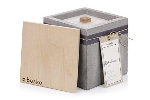 Beske-Manufaktur Design Betonfeuer, Outdoor Kerze mit Dauerdocht, 17x17x17cm, Gartenfackeln zum nachfüllen mit Kerzenwachs, Unendliche Brenndauer durch Upcycling von Wachsresten