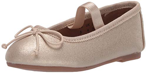 Amazon Essentials Girls' Bella Ballet Flat, Gold Glitter, 8 B US Toddler