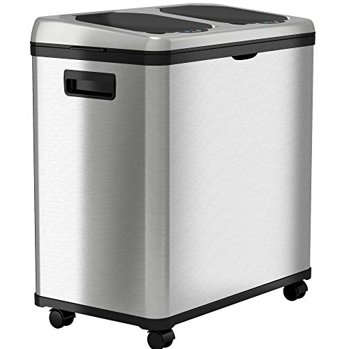 iTouchless Stainless Steel Dual-Compartment (8 Gallon Each) 60 Liter Kitchen Garbage Waste Solution 16 Gallon Touchless Sensor Trash Can/Recycle Bin