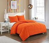 pop shop University All Season Easy-Wash Alternative Reversible Bright Solid Ultra-Soft Lightweight Microfiber Comforter Set, Twin XL, Orange