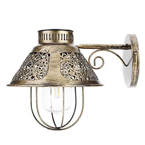FECAMOS Lámpara de Pared para Exteriores Luces de Porche para Montaje en Pared Exterior, IP44 Lámpara de Pared Solar Impermeable Luz Colgante de Hierro Forjado Retro para iluminación Exterior