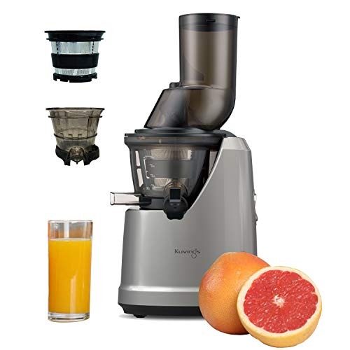 Kuvings B1700 Professional Cold Press Whole Slow Juicer, Powerful 240 Watts Motor, Patented JMCS Technology for Max Yield (Dark Silver Juicer + Smoothie Strainer & Sorbet Strainer)