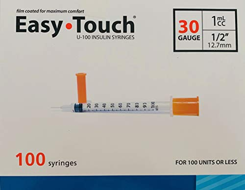 Easy Touch Syringes, 30 Gauge 1cc ½, 100 Syringes Each Box (0.5 -