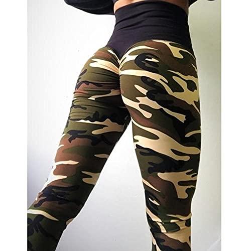 ArcherWlh Leggings Push Up Mujer,Pantalones Deportivos para Mujer Camuflaje Pantalones Damas Leggings de Yoga-Ejercito Verde_L