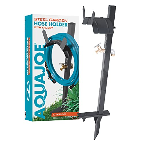 Aqua Joe SJ-SHSBB-Gry Garden Hose Stand with Solid Brass Faucet w/Quick Install Anchor Base, Grey