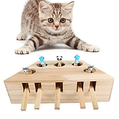 YEAKOO Cat Toys Interactive Mouse Whack A Mole Mouse Solid Wooden Puzzle Box Cat Exercise Toy with Cute Cartoon Toys for Cat Kitten Hunting Playing Scratching Bite (5 Holes)
