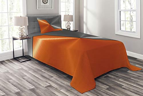 ABAKUHAUS Naranja y Gris Cubrecama, Estilo 3D Estructura Maquinaria Imagen Detallada Contraste de Color Vívido, Set Decorativo de 3 Piezas para el Dormitorio Estampa Digital, 170 x 220 cm, Naranja