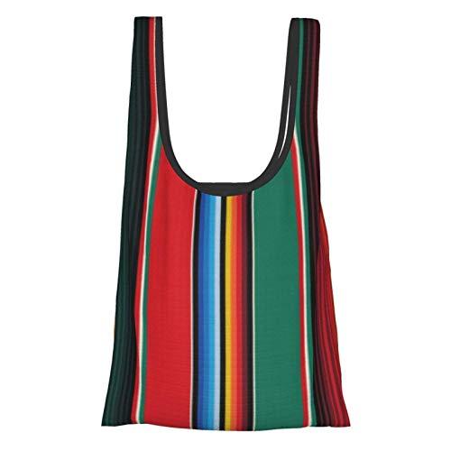 TEGUJ Wiederverwendbare Einkaufstaschen, mexikanischer Teppich, Serape, Streifen, The Arts, umweltfreundlich, faltbar, für Lebensmittel, Beutel, waschbar, Aufbewahrungstasche
