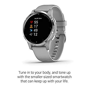 Garmin vivoactive 4S, Smaller-Sized GPS Smartwatch, Features Music, Body Energy Monitoring, Animated Workouts, Pulse Ox Sensors and More, Silver with Gray Band (Renewed)