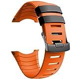 NotoCity Compatible con Correa Suunto Core, Silicona Reloj de Recambio Brazalete Correas para Suunto Core (Hebilla Negra, Naranja)