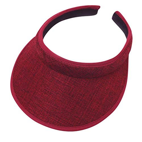 TUDUZ ♛Visor mit Spange in 15 Farben♛ Damen und Herren Golf Visier Strand Stroh Sonnenhut Unisex Visoren Hüte(A-Rot)