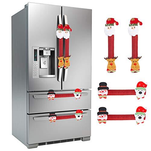 LANMOK Cubierta Manija de Refrigerador Navidad 4pcs Decoración de Refrigerador Navideña Decorativo para Manija de Puerta de Microondas Lavavajillas