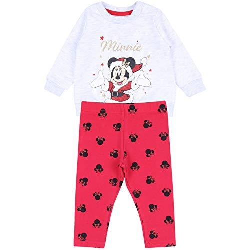 Grey Sweatshirt & Red Legging Set for Baby Girls Santa Claus Minnie Mouse Disney 6-9 Months