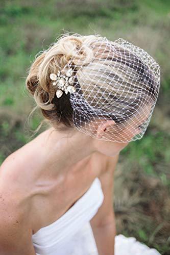 Heread 1920s Crystal Bride Wedding Birdcage Veil...