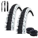 maxxi4you - Set di 2 copertoni per bicicletta Kenda K-829 MTB 24', colore nero/bianco 50-507 (24 x 1,95) + 2 camere d'aria AV con 3 leve per pneumatici