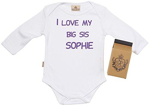 SR - I Love My Big Sis CUSTOM Baby Vest + boîte cadeau 0-6 mois Blanc