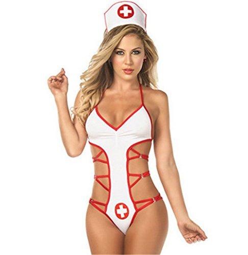 Befox Krankenschwester Weiß Halloween Cosplay Kostüm Dessous Strappy Uniform Versuchung Sexy Dessous Anzug