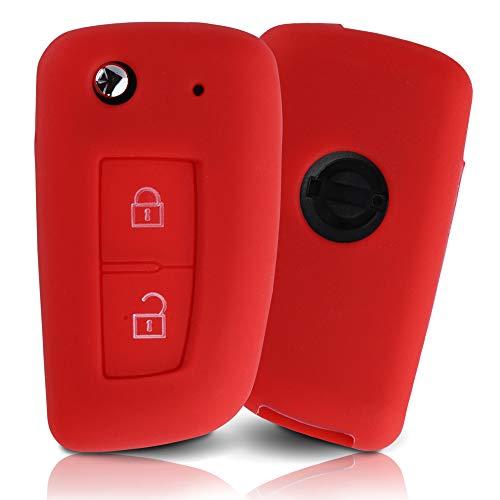 Tapa de la Llave Hecha de Silicona Premium Compatible con Nissan, Funda Protectora para Llaves de Coche Cubierta para el Tipo de Clave 2BKB - Rojo
