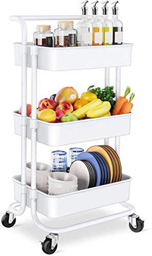 Storage Trolley Cart - 3 Tier Rolling Utility Organizer Rack, Craft Art Cart, Multi-Purpose Organizer Shelf, Tower Rack Serving Trolley for Office Bathroom Kitchen Kids' Room Laundry Room, White