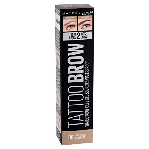 MAYBELLINE Waterproof, Gel IMPERMÉABLE Tattoo Brow Clair Mixte, Tono 00 Light Blonde-Rubio, La Norme