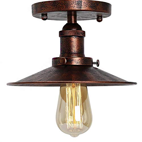 Umbrella Deckenleuchte Semi Flush Mount Leuchte Retro Industry Single Kopf Little Black Rock Deckenleuchte Edison Vintage Barn Light (Rostfarbe)