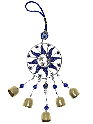 BRAVO TEAM Lucky Moon & Sun and Evil Eye Hanging Ornament for Protection, Blessing and Strength, Pendant Decoration for Car, Home and Office Great Gift.