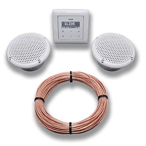 Gira Unterputz Radio Unterputzradio 228403 reinweiß glänzend Komplett-Set + 2 x Deckenlautsprecher weiß (Feuchtraum/Badezimmer) Einbaulautsprecher + Radioeinheit + Rahmen + 20 m Lautsprecherkabel