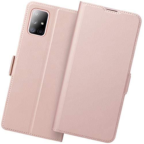 Funda Samsung A71, Funda Libro Samsung A71, Samsung Galaxy A71 Carcasa con Cierre Magnético, Tarjetero y Suporte, Capa Samsung A71 Plegable Cartera, Flip Cover Case, Tipo Étui Piel Protección.Oro Rosa