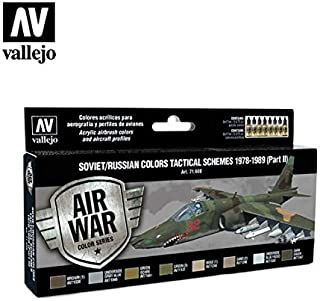 Vallejo VJ71608 - Air War Color Series Soviet/Russian Colors Tactical Schemes 1978-1989 (Part II) - Vj71608, Multi