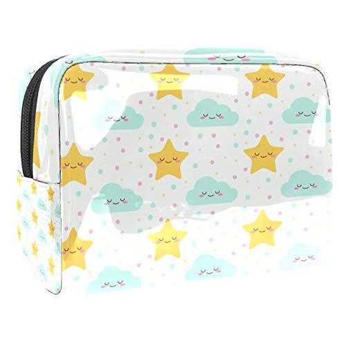 Bolsa de maquillaje portátil con cremallera bolsa de aseo de viaje para mujeres práctico almacenamiento cosmético bolsa bebé estrellas nube