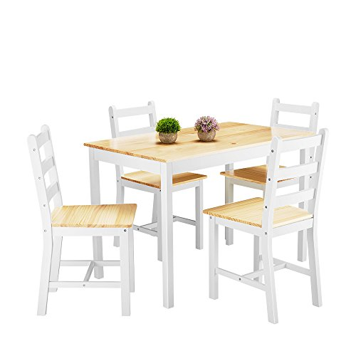 Panana Wooden Dining Table Set with 4 Chairs Contemporary Dining Furniture in Choice of Colors(Natural)