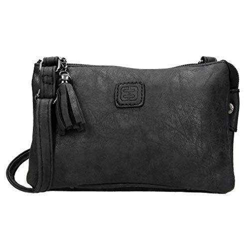 Clutch 66180 Schultertasche aus Kunstleder, Schwarz - Schwarz  - Größe: Small