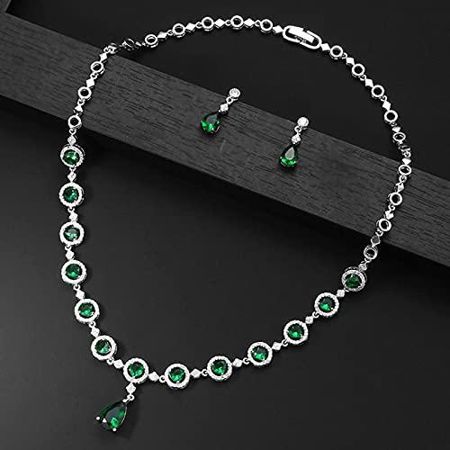 yuge Juego de joyas de plata 925 para mujer con zafiro esmeralda, juego de pendientes de collar verde