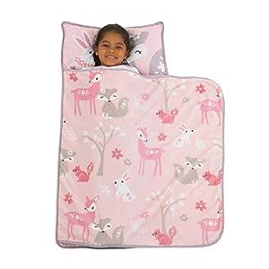 crib bedding and baby bedding everything kids pink & grey fox toddler nap mat with pillow & blanket, pink, grey, white, rose