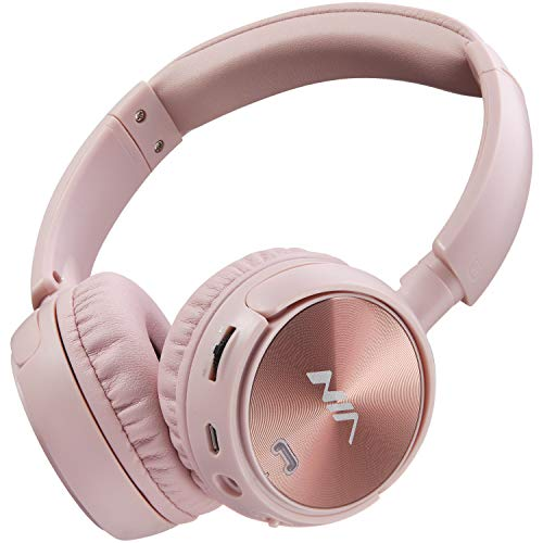 Kids Wireless Bluetooth Headphones On-Ear Built-in Microphone with FM Radio Headphones and Micro SD/TF Card MP3 Player Headset for Children Adults(Pink)