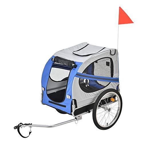 Pro-Tec Fahrradanhänger Hundeanhänger Hunde Transport bis zu 40 kg Anhänger Fahrrad Trailer Blau/Grau/Schwarz