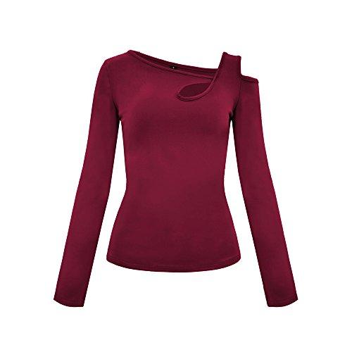 TOPUNDER Deals Keyhole One Shoulder Open Shoulder Top for Women Peplum Crochet Shirt Blouse Red