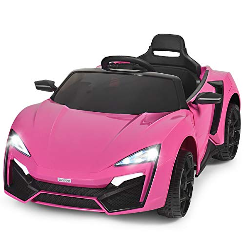 HONEY JOY 12V Kids Ride On Car, Battery Powered Electric Sports Car, Slow Start, Cool Front/Tail Lights, Spring Suspension, Double Doors, Portable Handle Ride-On Toy Vehicle w/RC Remote Control (Pink)