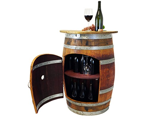Central Coast Creations Wine Barrel Wine Rack Bar Wine Barrel Furniture (Wine Barrel Stave Top)