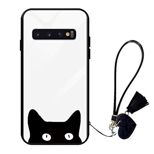 Oihxse Compatible pour Samsung Galaxy S8+ Plus Coque Verre Trempé avec Cordon Transparent Mode Motif Boîtier en Verre Arrière Silicone TPU Cadre Antichoc Anti-Scratch Protection Cover,A4