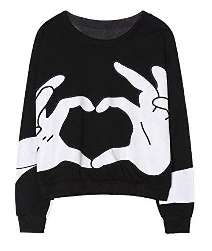 BESTHOO Sudadera Manga Larga Mujer Camiseta Deportivo Universidad Sudadera Casual Cuello Redondo Jersey Impresión Amor Pullover Personalizadas Guays