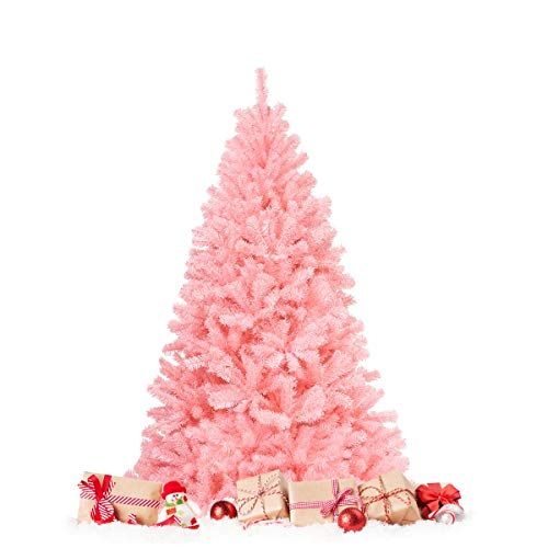 HAPPYGRILL 6FT Artificial Pink Christmas Tree with Stand New PVC Material Rich Thicken Tips Christmas Festival Decoration