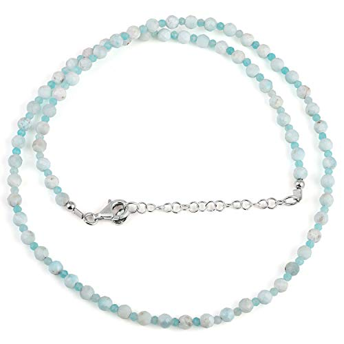 Natural Multicolor Hemimorphite & Amazonite Faceted Round Bead Gemstone Necklace with 925 Sterling Siver Chain for Women. Gift for Her, Christmas, Birthday, Aniversary, New Year - 50 Cm