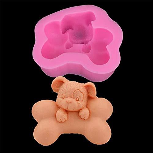 Molde de silicona con forma de hueso de perro 3D, forma de cilindro para hacer velas, fondant casero, bandeja de repostería, azúcar, chocolate, magdalenas, molde para horno, cocina, bricolaj
